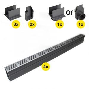 ACO Slimline Startpakket Aluminium 4 meter