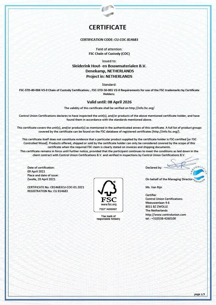 FSC certificaat pagina 1