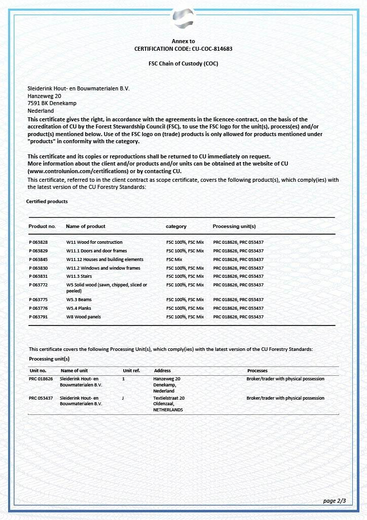 FSC certificaat pagina 2