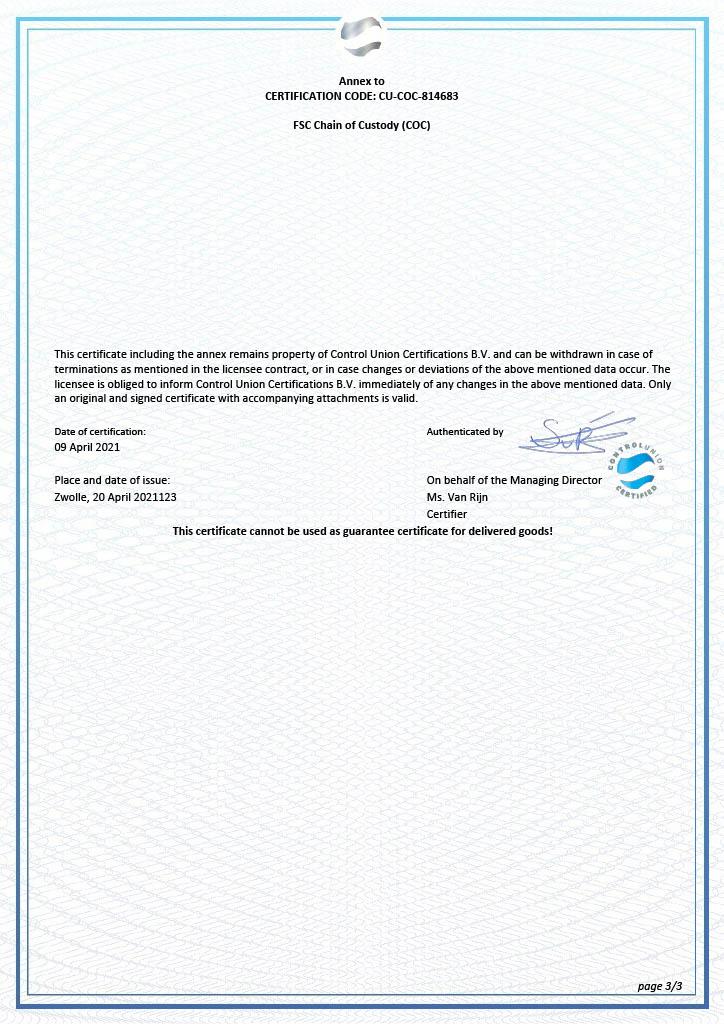 FSC certificaat pagina 3