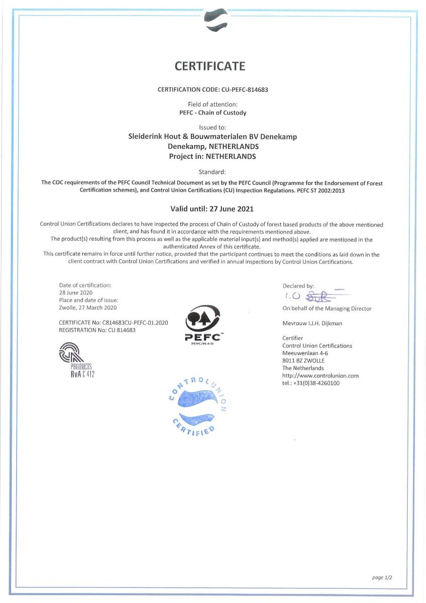 PEFC sleiderink pagina 1 van 2
