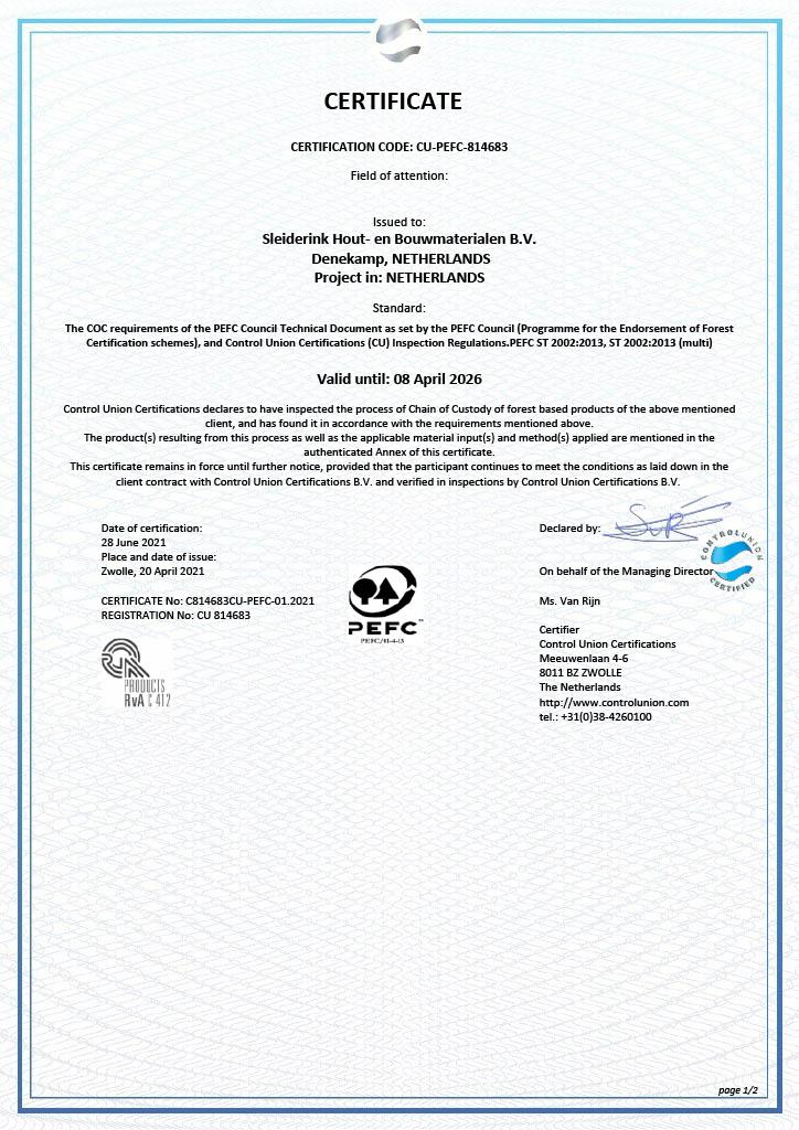 PEFC certificaat pagina 1